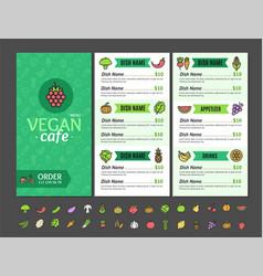 vegetarian or vegan healthy food menu cafe vector image vector image