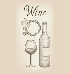 wine set wine glass bottle lettering cafe menu vector image vector image