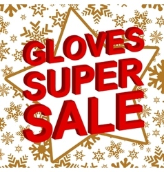 Winter sale poster with gloves super sale text vector