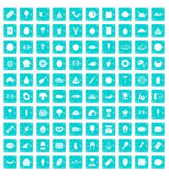100 favorite food icons set grunge blue vector image vector image