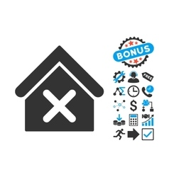 Wrong house flat icon with bonus vector