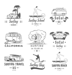 Set Surf Badges Label and Logos vector image