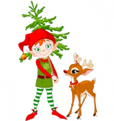 Elf and rudolf vector