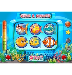 Computer game template with fish as characters vector