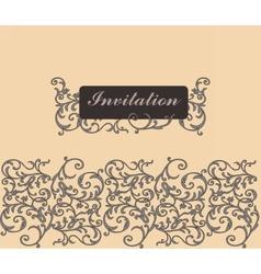 Classic Golden Floral Damask Invitation Card vector image