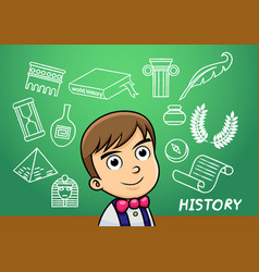 School boy write history sign object in school vector
