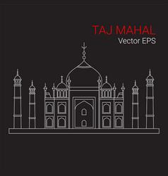 Taj mahal india line flat icon isolated vector