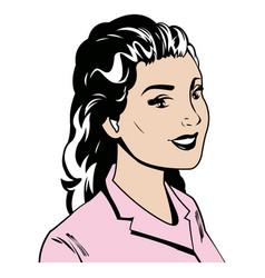 Portrait woman pink tshirt pop art vector