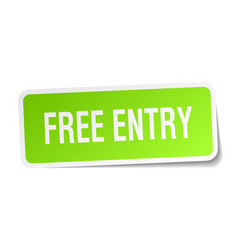Free entry square sticker on white vector