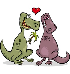 dinos in love cartoon vector image