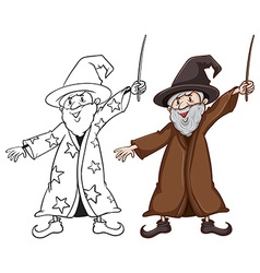 Sketches of a wizard in two colours vector