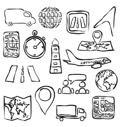 Logistic sketch images vector