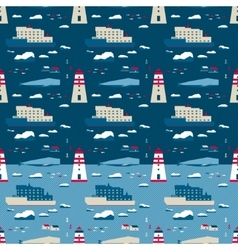 Seamless pattern whale and lighthouse vector