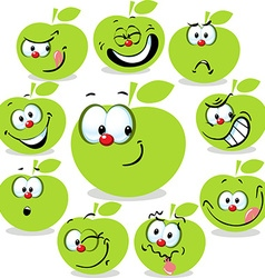 Green apple icon cartoon with funny faces isolated vector