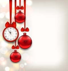 New year shimmering background with clock and vector