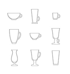 Line art set of cups and glasses vector