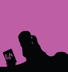woman reading book pink vector image