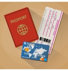 Passport boarding pass ticket bank card vector