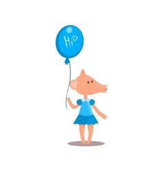 Piggy holding a balloon vector