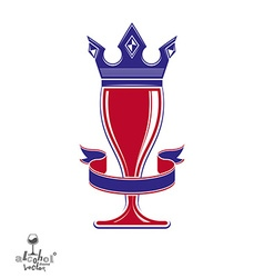 Majestic wineglass with monarch crown and curved vector
