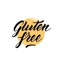 Gluten free label hand drawn brush lettering vector