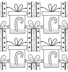 black and white seamless patterns with gift boxes vector image