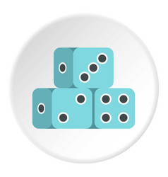 Blue dice cubes icon circle vector