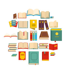Book icons set flat style vector