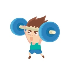 Boy sportsman weight lifting part of child sports vector