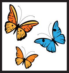 butterflies in diferent colors vector image vector image