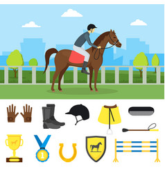 cartoon equipment jockey and element set vector image vector image