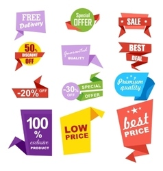 Discount sale ribbon banner isolated set vector