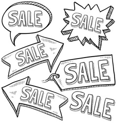 doodle label tag sale vector image vector image