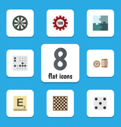 Flat icon play set of chess table backgammon vector