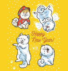 Four funny puppies with lettering happy new year vector