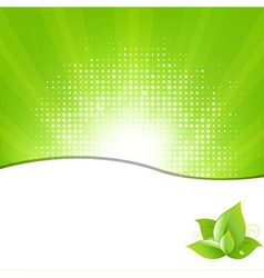 Green background with beams and leaves vector