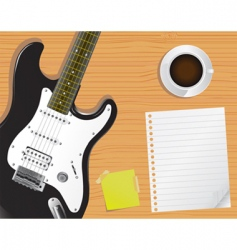 guitar and notepaper vector image vector image