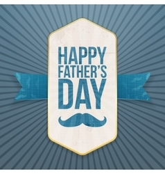 Happy fathers day paper poster with ribbon vector
