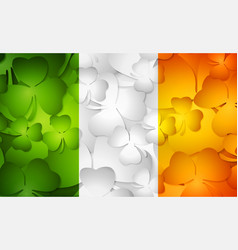 Irish flag made from shamrocks vector