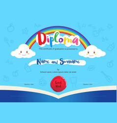 Kids diploma or certificate with rainbow and vector