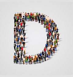 Large group of people in letter d form vector