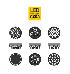 Led light gx53 bulbs silhouette icon set vector