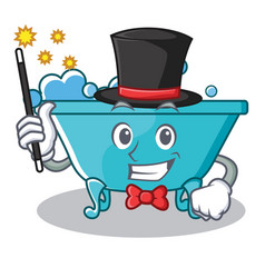 Magician bathtub character cartoon style vector