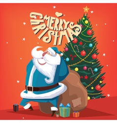 Merry christmas santa claus with spruce vector