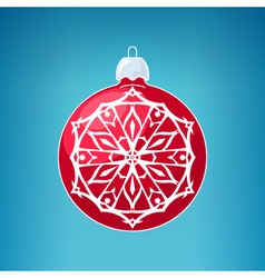Red Ball with Snowflake Merry Christmas vector image