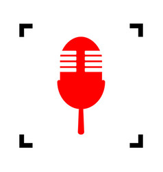 Retro microphone sign red icon inside vector