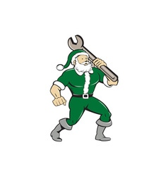 Santa claus mechanic spanner isolated cartoon vector
