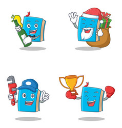 Set of blue book character with beer gift plumber vector