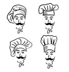 set of chef in hat vector image