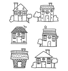 Set of house and building style hand draw vector